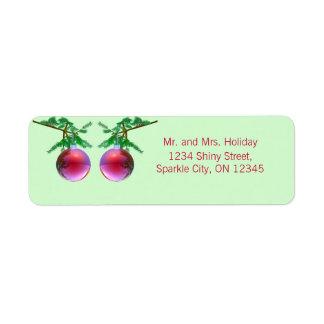 Two Red Christmas Balls Return Address Label