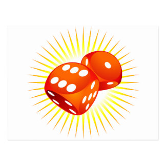 Two red dices. postcard