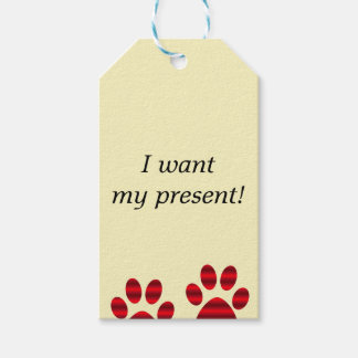 Two Red Gradient Paw Prints Gift Tags