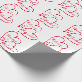 Two Red Hearts and Text Wrapping Paper