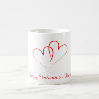 Two red hearts - Happy valentine's day! Classic White Coffee Mug