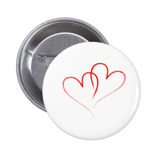 two red hearts intertwined - Valentine 2 Inch Round Button