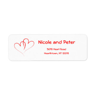 Two Red Hearts Return Address Label