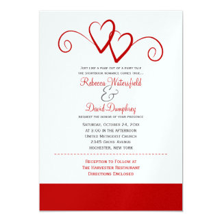 Two Red Hearts Wedding Invitation