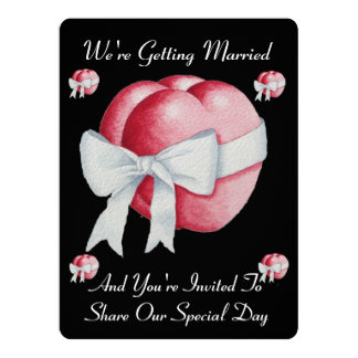 """two red hearts with white bow romantic wedding 6.5"""" x 8.75"""" invitation card"""