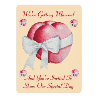 """two red hearts with white bow wedding 6.5"""" x 8.75"""" invitation card"""
