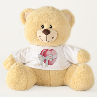 two red hearts with white ribbon bow love teddy bear