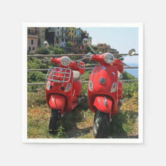 Two red mopeds disposable napkins