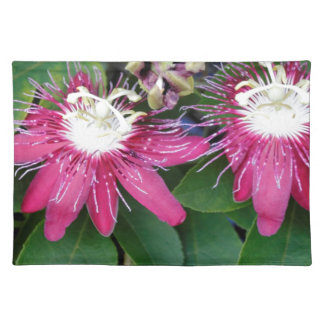 Two Red Passion Flowers Closeup Outdoors in Nature Placemat