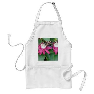 Two Red Passion Flowers Closeup Outdoors in Nature Standard Apron
