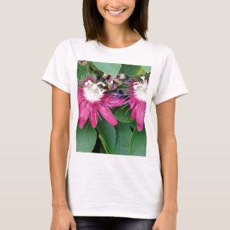 Two Red Passion Flowers Closeup Outdoors in Nature T-Shirt