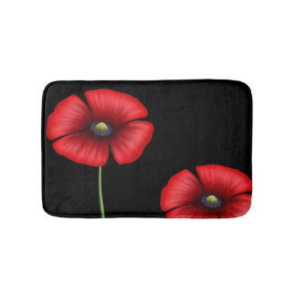 Two Red Poppy Flowers on Black Bath Mat