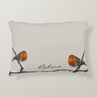 """Two Red Robins Personalized Pillow 16""""x12"""""""