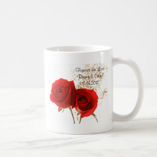 Two Red Roses Classic White Coffee Mug