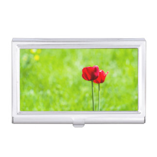 Two red tulip flowers case for business cards