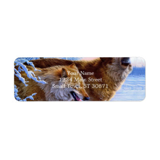 Two red wolves painting return address label