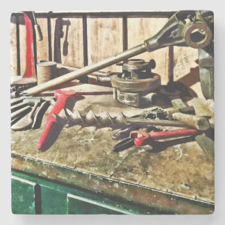 Two Red Wrenches on Plumber's Workbench Stone Coaster