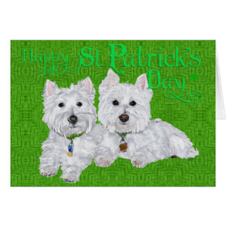 Two Resting Westies on St Patricks Day Note Card