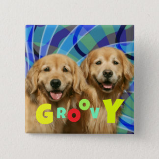Two Retro Golden Retriever Dogs Psychedelic Groovy 2 Inch Square Button