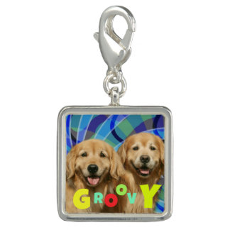 Two Retro Golden Retriever Dogs Psychedelic Groovy Charm