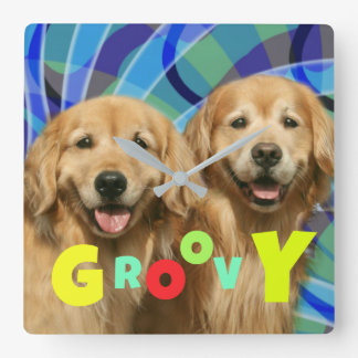 Two Retro Golden Retriever Dogs Psychedelic Groovy Square Wall Clock