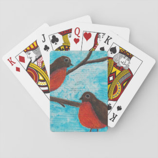 Two Robins Playing Cards