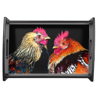 Two Roosters on black background serving tray