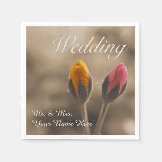 Two Rose Buds Wedding Napkin Disposable Napkin