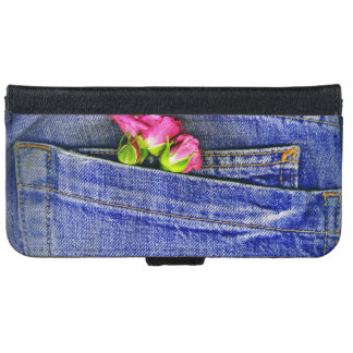 Two Roses In A Denim Patch Pocket iPhone 6 Wallet Case