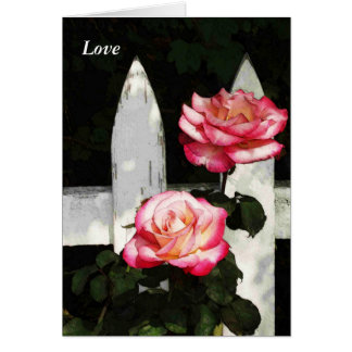 Two Roses in Fall Love Card