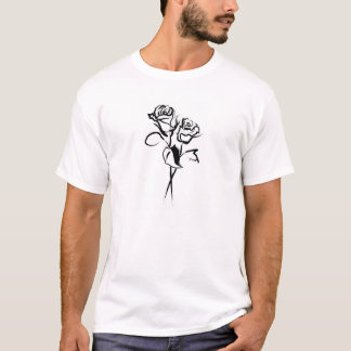 Two Roses in Outline T-Shirt