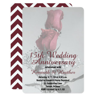 Two Roses Photograph   15th Wedding Anniversary Card