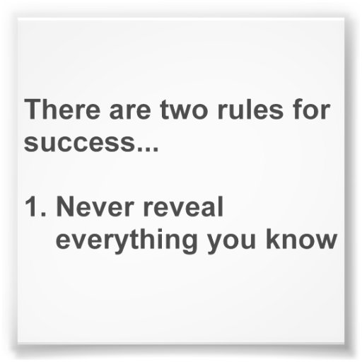 Two Rules For Success Revealed Photo