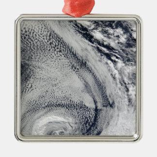 Two S-Shaped Polar Hurricanes Silver-Colored Square Ornament