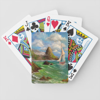 Two Sail Boat Seascape Design Bicycle Playing Cards