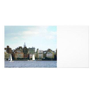 Two Sailboats Against Manhattan Skyline Custom Photo Card