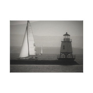 Two Sailboats and A Lighthouse on Lake Champlain Canvas Print