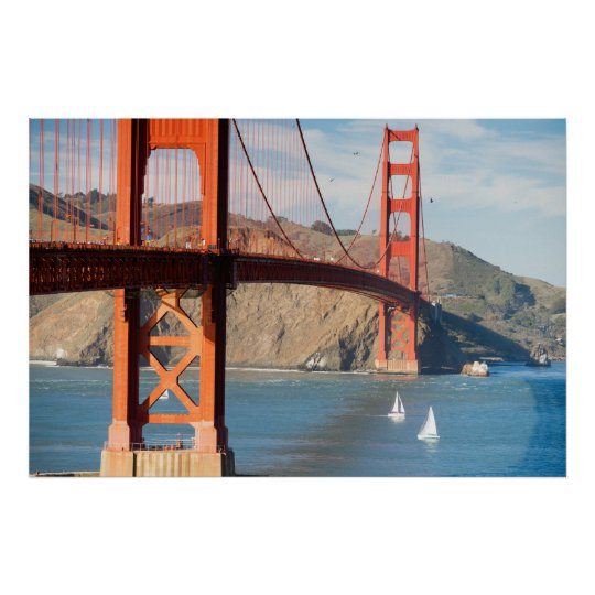 Two Sailboats Golden Gate Bridge San Francisco Bay Poster