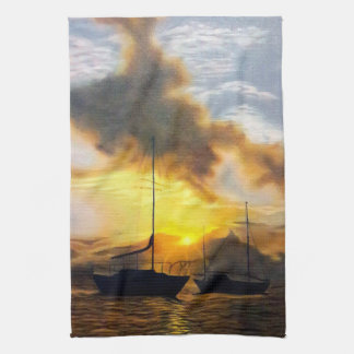 Two Sailboats in a Beautiful Sunset Kitchen Towel