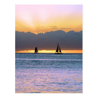 Two Sailboats in a Waikiki Sunset Postcard