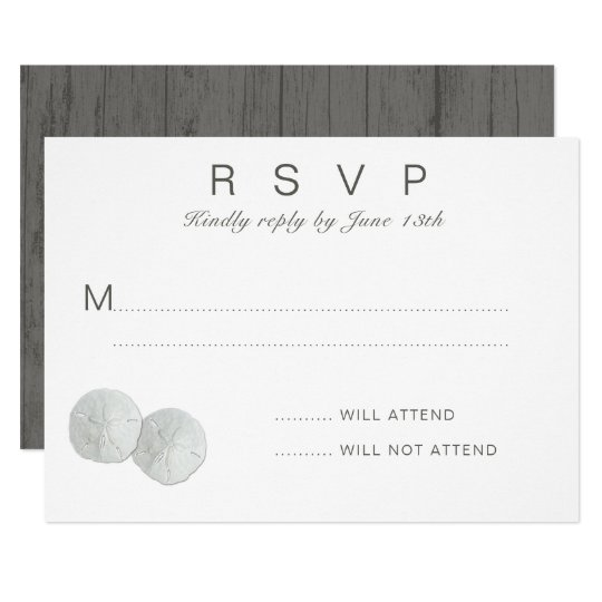 Two Sand Dollars White RSVP Attendance Card