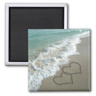 Two Sand Hearts on the Beach, Romantic Ocean Fridge Magnet