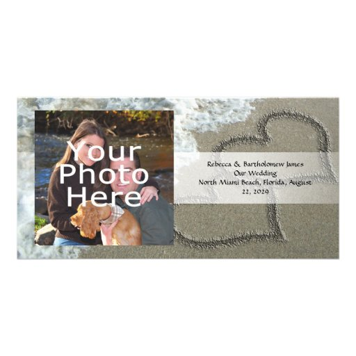 Two Sand Hearts on the Beach, Romantic Ocean Photo Greeting Card
