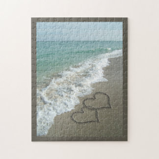 Two Sand Hearts on the Beach, Romantic Ocean Puzzle