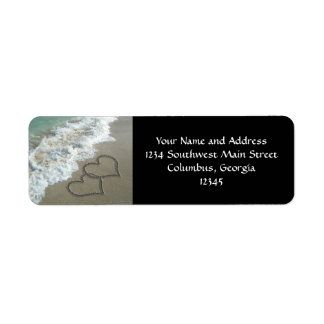 Two Sand Hearts on the Beach, Romantic Ocean Return Address Label