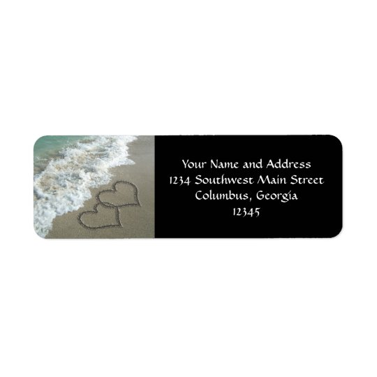 Two Sand Hearts on the Beach, Romantic Ocean Return Address Label