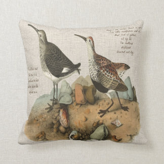Two Sandpipers with Poem - Cotton version Throw Pillow