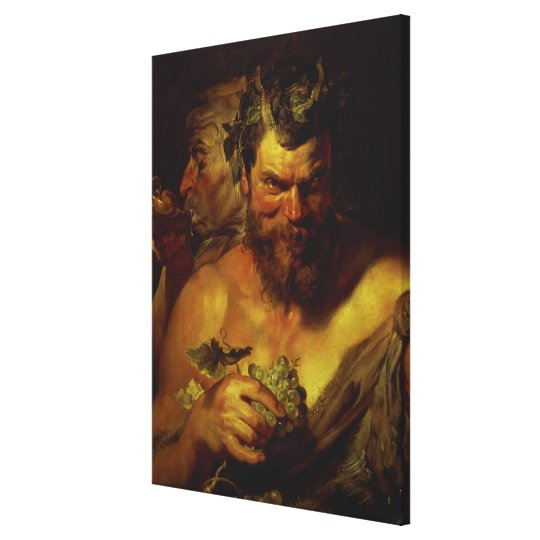 Two Satyrs (oil on panel) Canvas Print