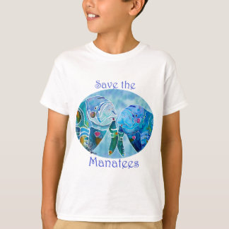 Two Save Manatees in Oval Design Ocean Blues T-Shirt