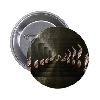 Two Saxophones with Musical Note Pinback Button